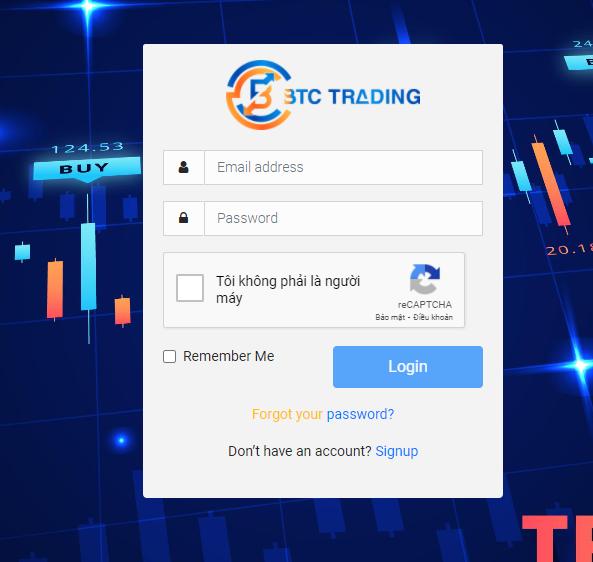 Đăng nhập tài khoản btc trading